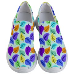 Colorful Leaves Blue Women s Lightweight Slip Ons by vintage2030