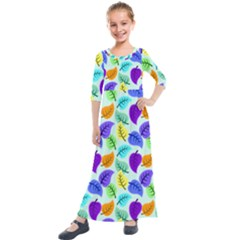Colorful Leaves Blue Kids  Quarter Sleeve Maxi Dress by vintage2030