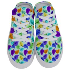 Colorful Leaves Blue Half Slippers by vintage2030