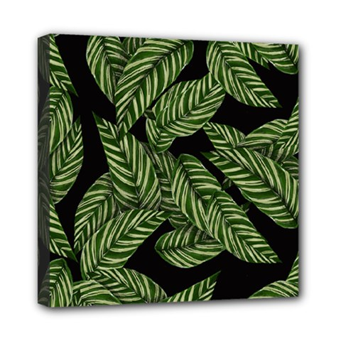 Tropical Leaves On Black Mini Canvas 8  X 8  (stretched)