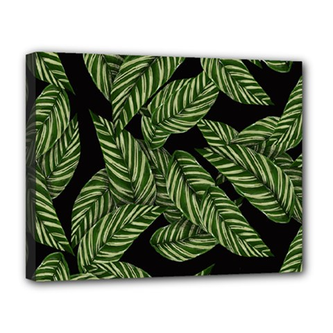 Tropical Leaves On Black Canvas 14  X 11  (stretched)