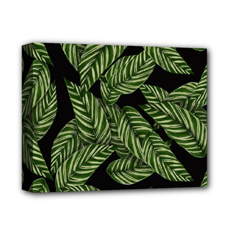 Tropical Leaves On Black Deluxe Canvas 14  X 11  (stretched)