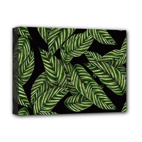 Tropical Leaves On Black Deluxe Canvas 16  X 12  (stretched)