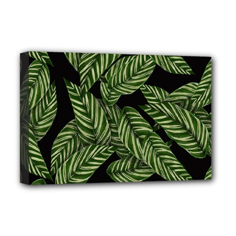 Tropical Leaves On Black Deluxe Canvas 18  X 12  (stretched)
