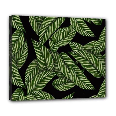 Tropical Leaves On Black Deluxe Canvas 24  X 20  (stretched)