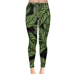 Tropical Leaves On Black Leggings