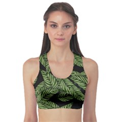 Tropical Leaves On Black Sports Bra