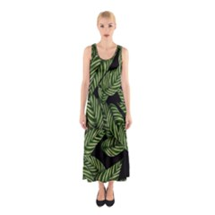 Tropical Leaves On Black Sleeveless Maxi Dress