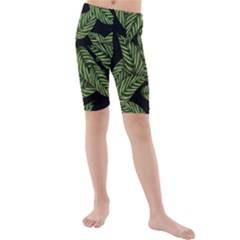 Tropical Leaves On Black Kids  Mid Length Swim Shorts