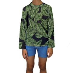 Tropical Leaves On Black Kids  Long Sleeve Swimwear