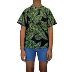 Tropical Leaves On Black Kids  Short Sleeve Swimwear