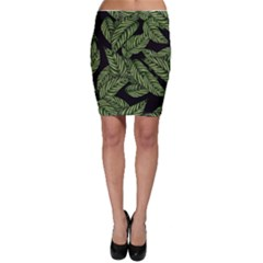 Tropical Leaves On Black Bodycon Skirt