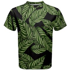 Tropical Leaves On Black Men s Cotton Tee
