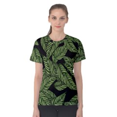 Tropical Leaves On Black Women s Cotton Tee