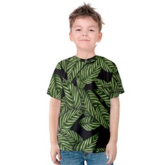 Tropical Leaves On Black Kids  Cotton Tee