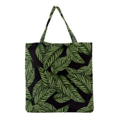 Tropical Leaves On Black Grocery Tote Bag