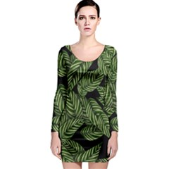 Tropical Leaves On Black Long Sleeve Bodycon Dress