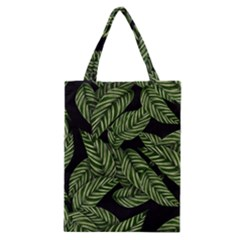 Tropical Leaves On Black Classic Tote Bag