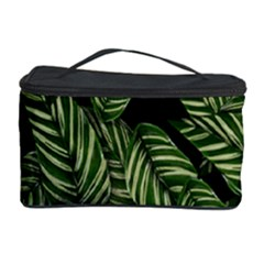 Tropical Leaves On Black Cosmetic Storage