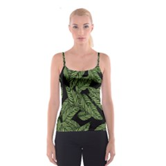 Tropical Leaves On Black Spaghetti Strap Top