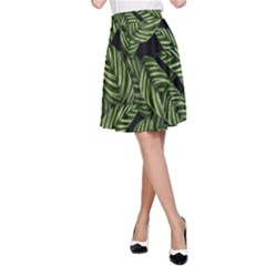 Tropical Leaves On Black A Line Skirt