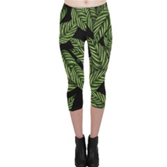 Tropical Leaves On Black Capri Leggings