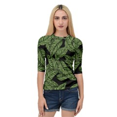 Tropical Leaves On Black Quarter Sleeve Raglan Tee