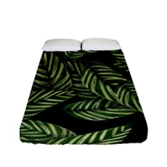 Tropical Leaves On Black Fitted Sheet (full/ Double Size)