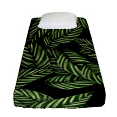 Tropical Leaves On Black Fitted Sheet (single Size)