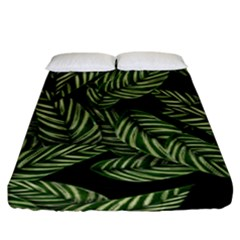 Tropical Leaves On Black Fitted Sheet (king Size)