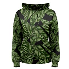 Tropical Leaves On Black Women s Pullover Hoodie