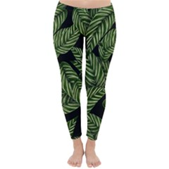 Tropical Leaves On Black Classic Winter Leggings