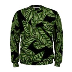 Tropical Leaves On Black Men s Sweatshirt