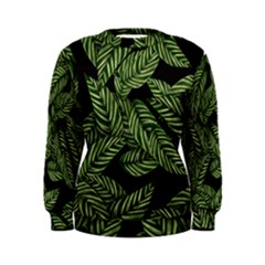 Tropical Leaves On Black Women s Sweatshirt