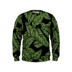 Tropical Leaves On Black Kids  Sweatshirt