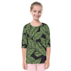 Tropical Leaves On Black Kids  Quarter Sleeve Raglan Tee