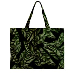 Tropical Leaves On Black Zipper Mini Tote Bag