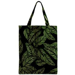 Tropical Leaves On Black Zipper Classic Tote Bag