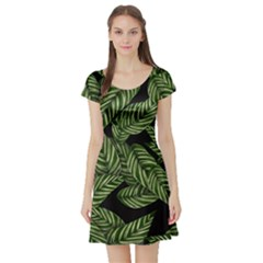 Tropical Leaves On Black Short Sleeve Skater Dress