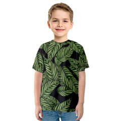 Tropical Leaves On Black Kids  Sport Mesh Tee