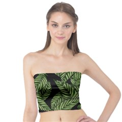 Tropical Leaves On Black Tube Top