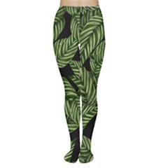 Tropical Leaves On Black Tights