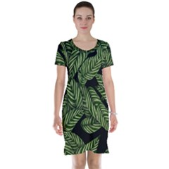 Tropical Leaves On Black Short Sleeve Nightdress