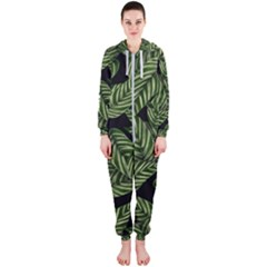 Tropical Leaves On Black Hooded Jumpsuit (ladies)