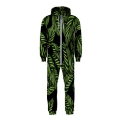 Tropical Leaves On Black Hooded Jumpsuit (kids)