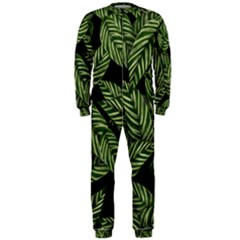 Tropical Leaves On Black Onepiece Jumpsuit (men)