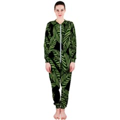 Tropical Leaves On Black Onepiece Jumpsuit (ladies)