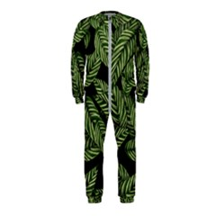 Tropical Leaves On Black Onepiece Jumpsuit (kids)
