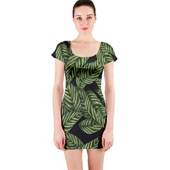 Tropical Leaves On Black Short Sleeve Bodycon Dress