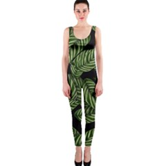 Tropical Leaves On Black One Piece Catsuit